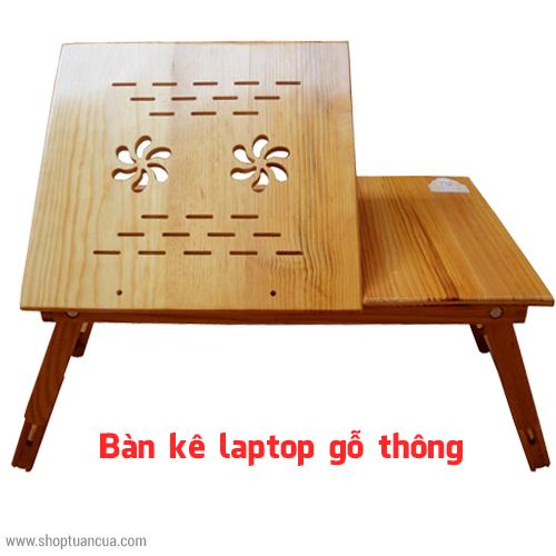 ban kê laptop gỗ thông có quạt