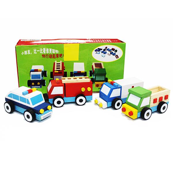 Bộ đồ chơi gỗ 4 xe ô tô