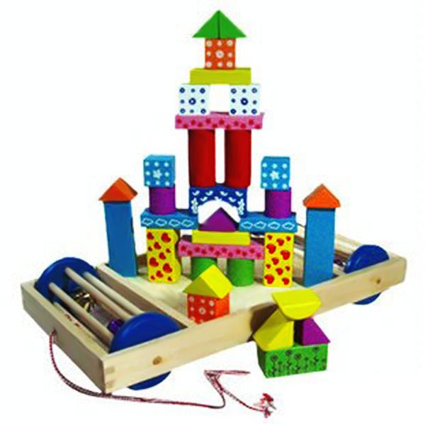 Lâu đài trí tuệ trên xe gỗ kéo mini